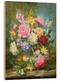Print på træ  Peonies and mixed flowers - Albert Williams