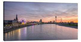 Lærredsbillede  Dusseldorf Skyline at blazing red sunset - Michael Valjak