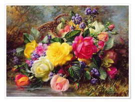 Premium-plakat Roses by a Pond