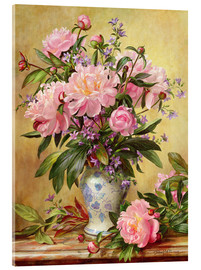 Akrylbillede  Vase of Peonies and Canterbury Bells - Albert Williams