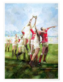 Premium-plakat Rugby Match: Llanelli v Swansea, Line Out, 1992