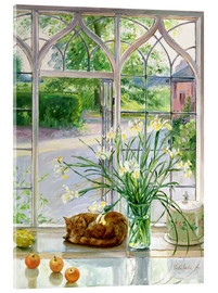 Akrylbillede  Sleeping cat in the window - Timothy Easton