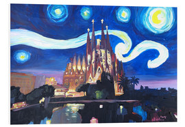 Print på skumplade  Starry Night in Barcelona - M. Bleichner