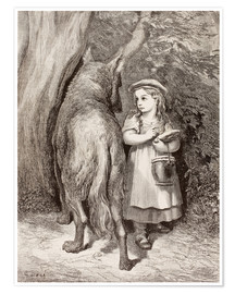 Premium-plakat Scene From Little Red Riding Hood By Charles Perrault