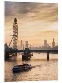 Akrylbillede  Millenium Wheel with Big Ben, London, England - Charles Bowman