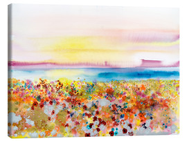 Lærredsbillede  Field Of Joy, Abstract Landscape Of Bejeweled Field Of Flowers - Tara Thelen