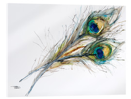 Akrylbillede  Two peacock feathers - Tara Thelen