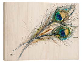 Print på træ  Two peacock feathers - Tara Thelen