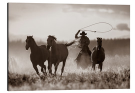 Print på aluminium  Cowboy of the horses catches - Richard Wear