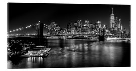 Akrylbillede  New York City by Night (monochrome) - Sascha Kilmer