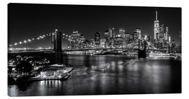 Lærredsbillede  New York City by Night (monochrome) - Sascha Kilmer
