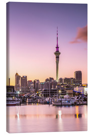 Lærredsbillede  Skyline of Auckland city and harbour at sunrise, New Zealand - Matteo Colombo