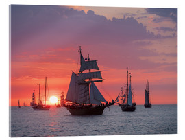 Akrylbillede  Sailing ships on the Baltic Sea in the evening - Rico Ködder