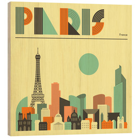 Print på træ  Paris skyline - Jazzberry Blue
