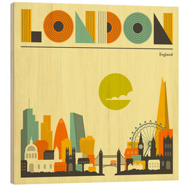 Print på træ  London skyline - Jazzberry Blue