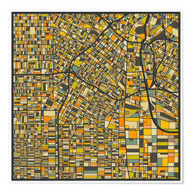 Premium-plakat  Los Angeles Map - Jazzberry Blue