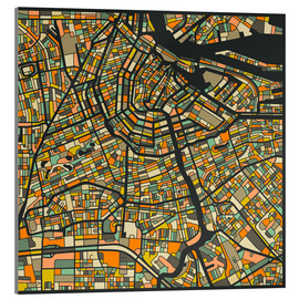 Akrylbillede  Amsterdam Map - Jazzberry Blue