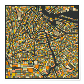 Premium-plakat  Amsterdam Map - Jazzberry Blue