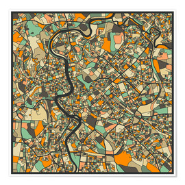 Premium-plakat  Rome Map - Jazzberry Blue