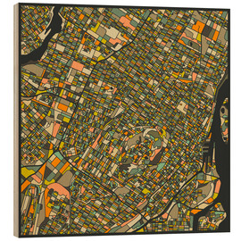 Print på træ  Montreal Map - Jazzberry Blue