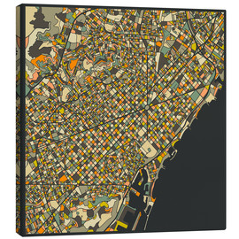 Lærredsbillede  Barcelona map - Jazzberry Blue