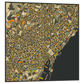 Print på skumplade  Barcelona map - Jazzberry Blue