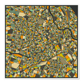 Premium-plakat  Vienna Map - Jazzberry Blue