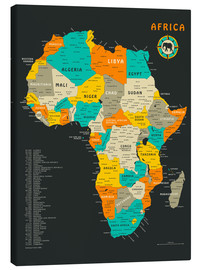Lærredsbillede  Africa Map - Jazzberry Blue