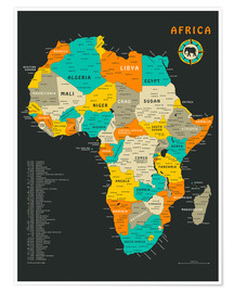 Premium-plakat  Africa Map - Jazzberry Blue