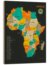 Print på træ  Africa Map - Jazzberry Blue