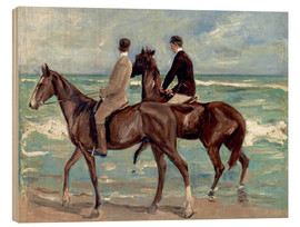 Print på træ  Two Riders on the Beach - Max Liebermann