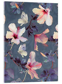 Akrylbillede  Butterflies and Hibiscus Flowers - a painted pattern - Micklyn Le Feuvre