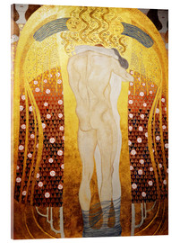 Akrylbillede  Beethoven Frieze: Embracing couple (detalje) - Gustav Klimt