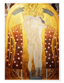 Premium-plakat Beethoven Frieze: Embracing couple (detalje)