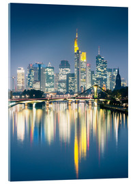 Akrylbillede  Frankfurt skyline reflected in river Main at night, Germany - Matteo Colombo