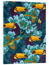 Akrylbillede  Tropical flowers with toucan