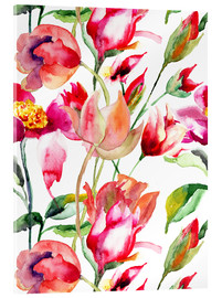Akrylbillede  Summer flowers in watercolor