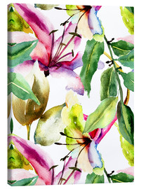 Lærredsbillede  Lilies in watercolor