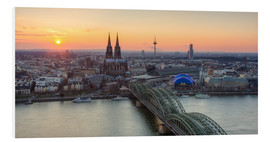 Print på skumplade  Panorama view of Cologne at sunset - Michael Valjak