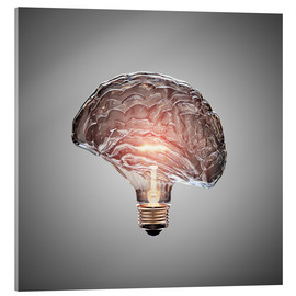 Akrylbillede  Conceptual light bulb brain illustrated - Johan Swanepoel