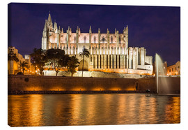 Lærredsbillede  Cathedral of Palma de Mallorca at night - Christian Müringer