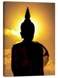 Lærredsbillede  Silhouette of Buddha in the temple