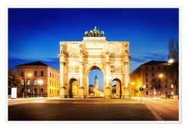 Premium-plakat  Victory Arch in Munich at night
