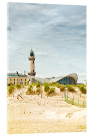 Akrylbillede  Old lighthouse and Teepott building at Warnemünde