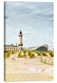 Lærredsbillede  Old lighthouse and Teepott building at Warnemünde
