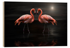 Print på træ  Flamingos at night - Heike Langenkamp