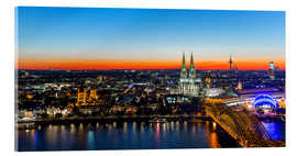 Akrylbillede  Colorful Cologne skyline at night