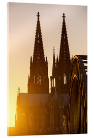 Akrylbillede  Sunset behind the Cologne Cathedral