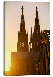 Lærredsbillede  Sunset behind the Cologne Cathedral