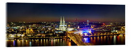 Akrylbillede  A panoramic view of cologne at night